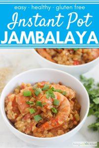 bowl of shrimp jambalaya with another bowl of jambalaya, rice, and parsley