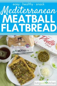 flatbread on white plate with tea, frozen meatballs, phyllo dough, parmesan cheese, pesto, and green onions