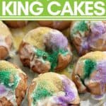 mini king cakes with green, yellow, purple colored sugar