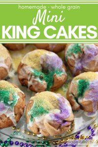 mini king cakes with green, yellow, purple colored sugar