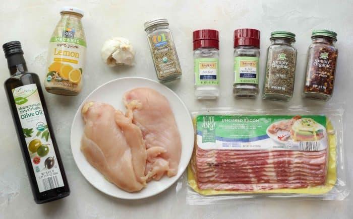 olive oil, lemon juice, garlic, thyme, rosemary, salt, pepper, bacon, chicken breast