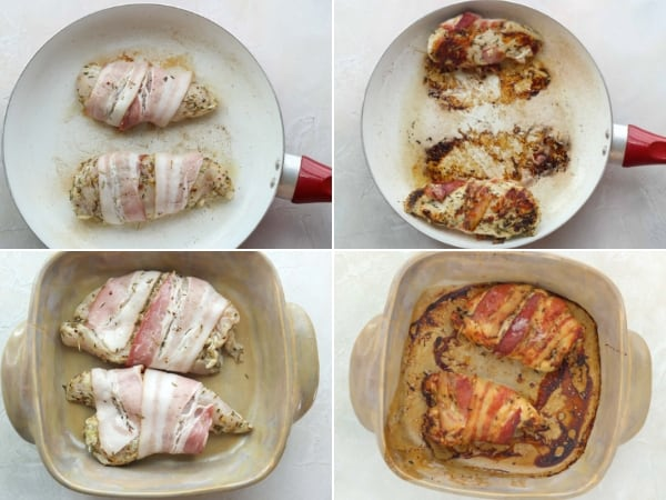 bacon wrapped chicken cooking in a skillet and bacon wrapped chicken baking in a casserole dish