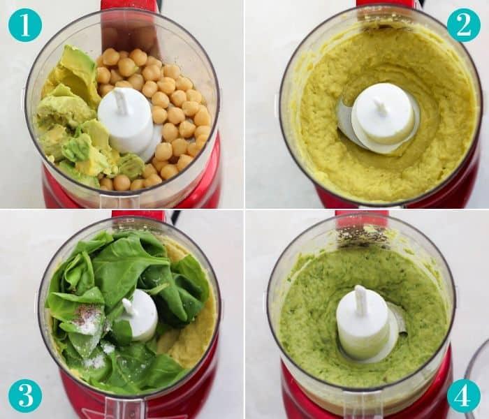 red mini food processor making avocado spinach hummus