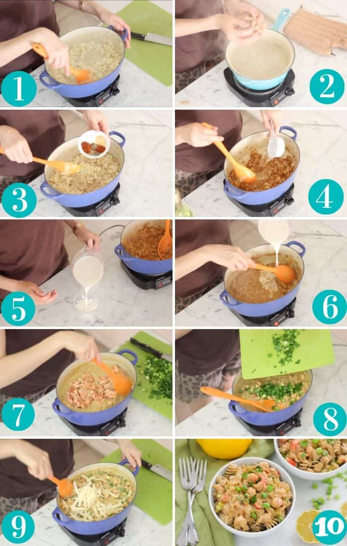 steps for cooking crawfish pasta