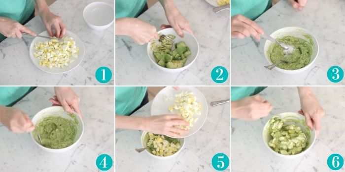 cutting hard boiled eggs, mashing avocados, and stirring together for egg salad