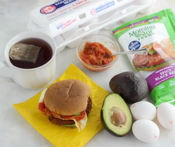 tea, breakfast burger, salsa, avocado, eggs, veggie burger, egg carton