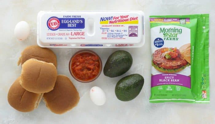 hamburger bun, egg carton, salsa, eggs, avocado, veggie burgers