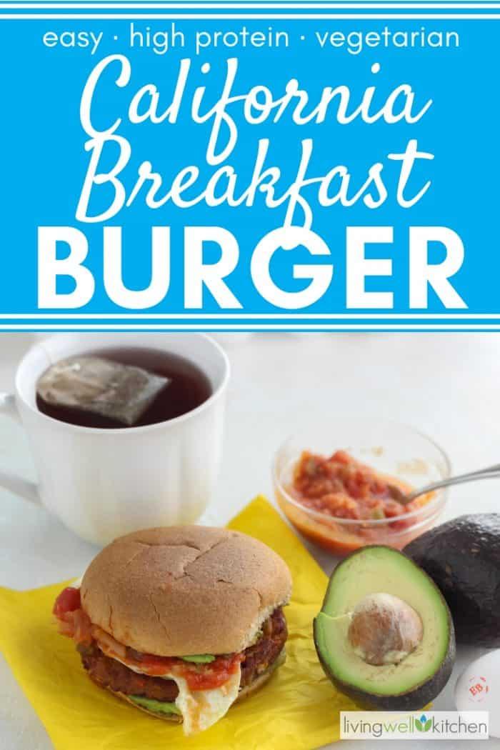 burger on yellow napkin with salsa, avocado, egg, tea