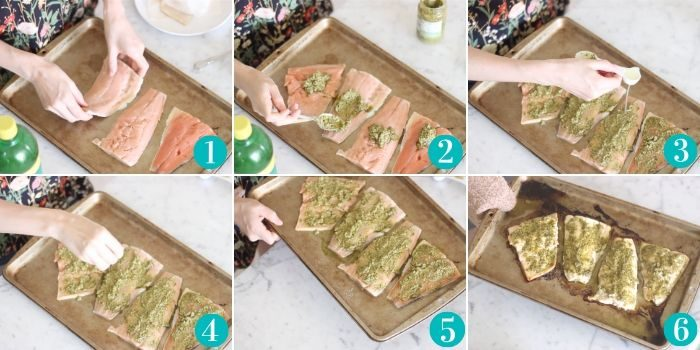 step by step photos of making pesto salmon. Placing salmon on baking sheet, covering with pesto, topping with lemon juice and salt, transferring to oven then removing from oven