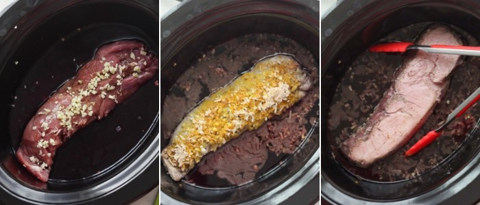 process shots of pork tenderloin in a slow cooker with chopped garlic, spices, and flipped halfway through cooking