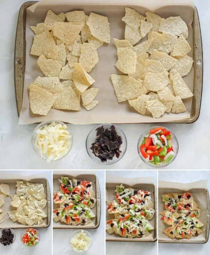 tortilla chips on a baking sheet with bowls of cheese, beef jerky and bell peppers. with step by step photos of toppings being put on the tortilla chips