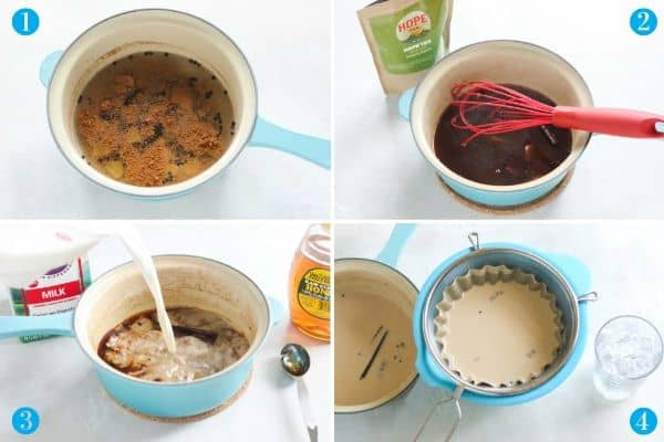 step by step collage to make chai latte: spices in a saucepan, stirring in tea, pouring in milk, straining mixture