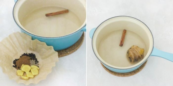 photo collage of spices and sliced ginger in coffee filter next to saucepan with water and cinnamon stick