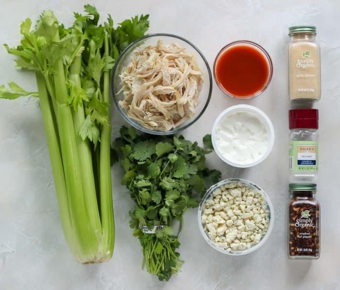 celery, shredded chicken, cilantro, wing sauce, yogurt, blue cheese, garlic powder, salt, red pepper flakes