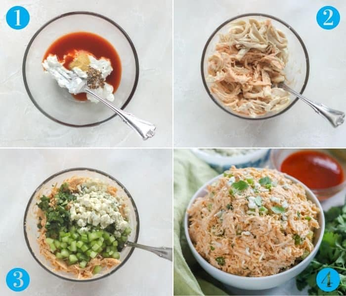 collage of steps to make buffalo chicken salad: stir yogurt and wing sauce, add chicken, add cheese parsley and celery, finished chicken salad