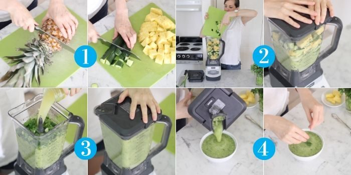 steps to make pineapple cucumber gazpacho: chopping pineapple and cucumbers, putting in a blender and blending, adding pineapple juice and blending, pouring into a bowl and topping with cilantro