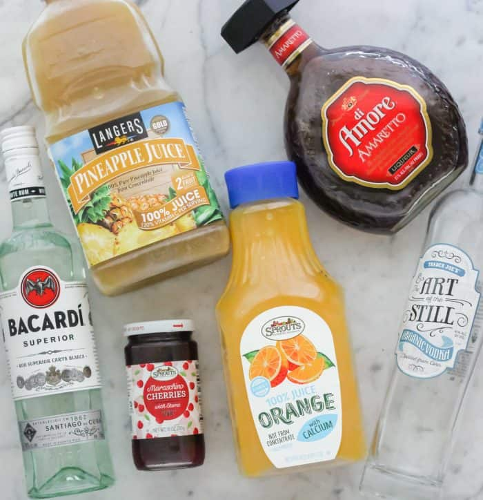 light rum, maraschino cherries, orange juice, vodka, amaretto, pineapple juice