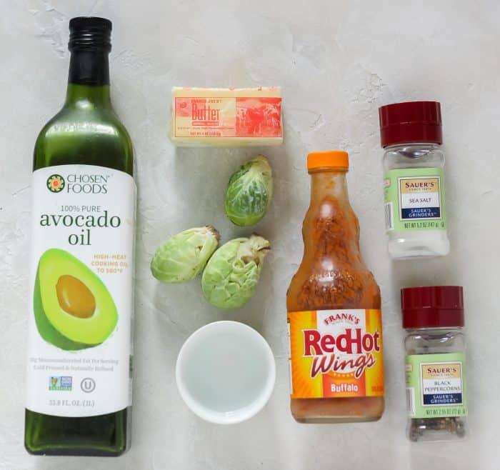avocado oil, butter, fresh Brussels sprouts, water, buffalo sauce, salt, pepper