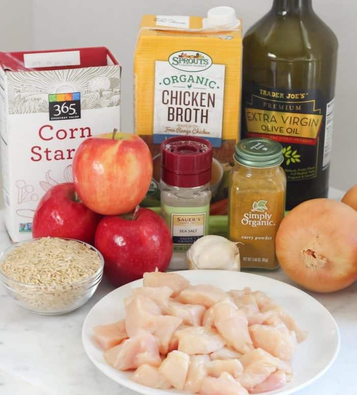 rice, apples, cornstarch, chicken broth, salt, garlic, curry powder, chicken breast, onion, celery, olive oil