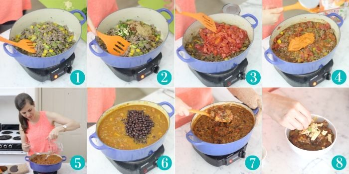 step by step photo college cooking pumpkin chili in a blue pot with orange spatula