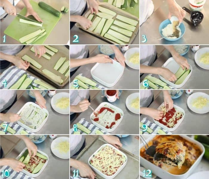 steps to make zucchini lasagna by slicing, baking, stirring together ricotta and spices, then layering and baking.