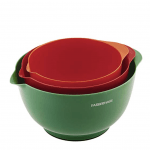 red, orange, and green mixing bowls