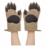 two hands wearing bear oven mitts