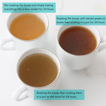 three cups of bone broth with words overlay describing how they were made