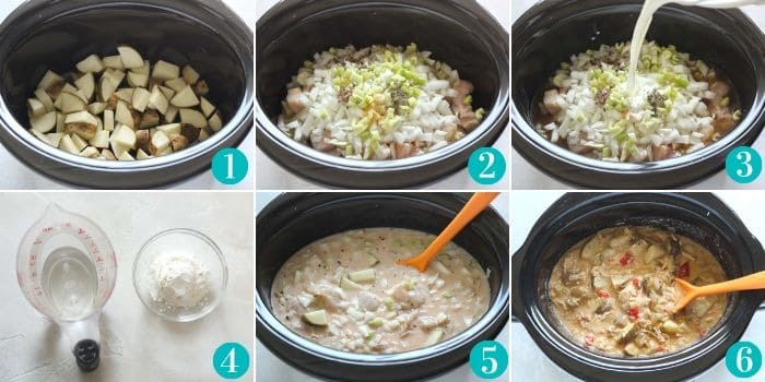 step by step photos to make buffalo chicken chowder in slow cooker