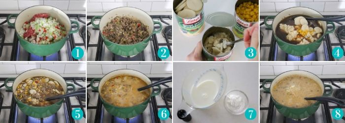 step by step photos making cheeseburger soup on a stove in a green pot
