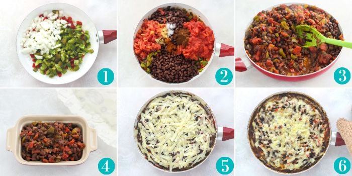 step by step directions for making a cheese bean casserole
