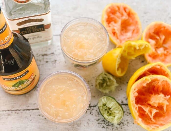 triple sec, tequila, cups of margaritas, limes, lemon, grapefruits