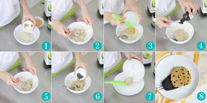 photos showing step by step how to make an oatmeal cookie in the microwave