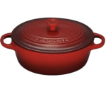 small red baking dish with lid